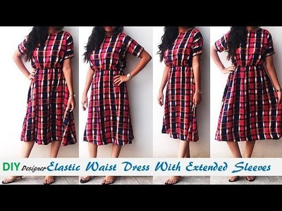 DIY Elastic Waist Dress With Extended Sleeves Cutting And Stitching Tutorial