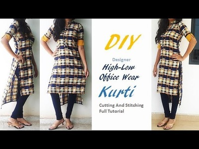 DIY High-Low Professional Style Office Wear Kurti Cutting And Stitching Tutorial