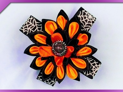 DIY How to make hair clip with kanzashi ribbon flower for Halloween (ENG Subtitles) - Speed up #410