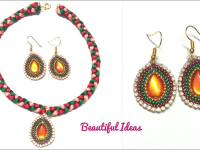 DIY.How to Make Silk thread Fancy Necklace set.Silk thread Designer Necklace.Paper Earrings making