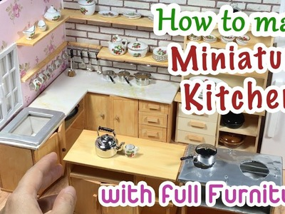 DIY Miniature Kitchen Room for Dollhouse | How to make a Miniature Kitchen with full Furniture !