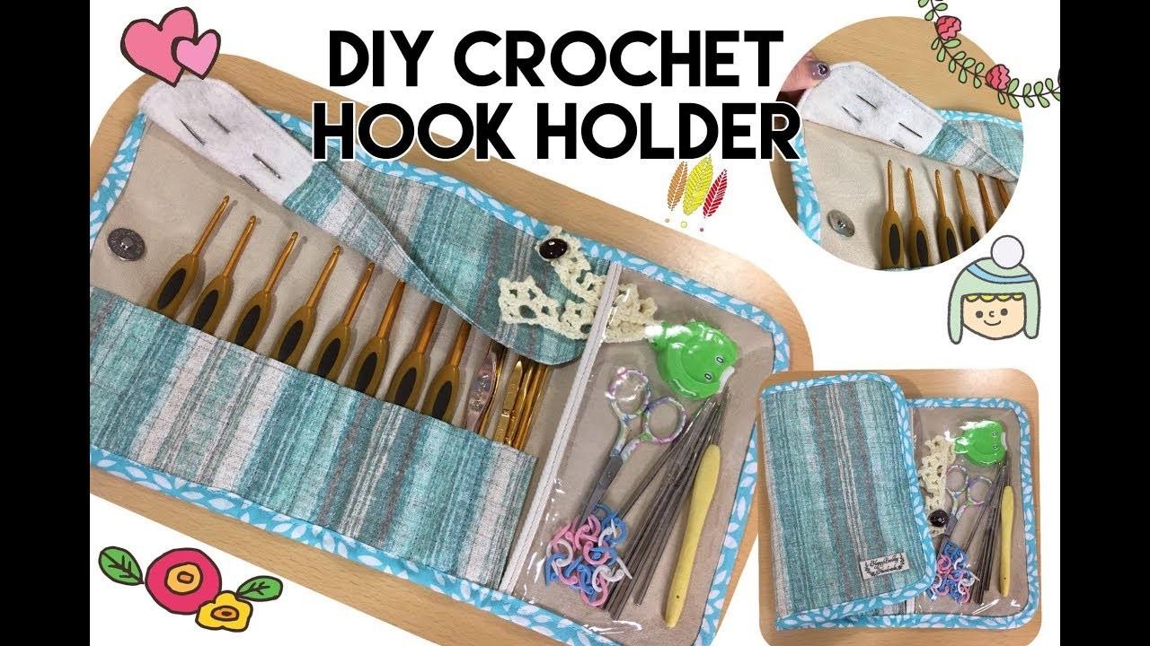 DIY sewing fabric crochet hook holder tutorial