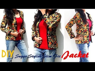 DIY Slim Fit Long Sleeves Jacket.Over Coat. Blazer Cutting And Stitching Tutorial