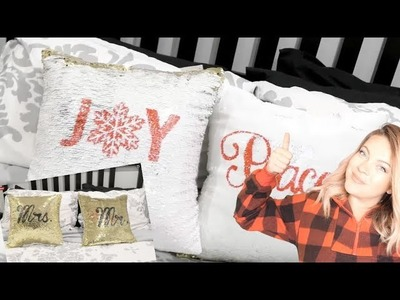 DIY Stencil 2 sided Sequin Pillows With the CRICUT