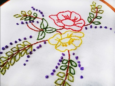 Hand Embroidery Back Stitch design video tutorial by Nakshi  katha.