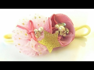Headband Ideas : Kanzashi Flower Headband   Crepe And Tulle Fabric Flower | DIY by Elysia Handmade
