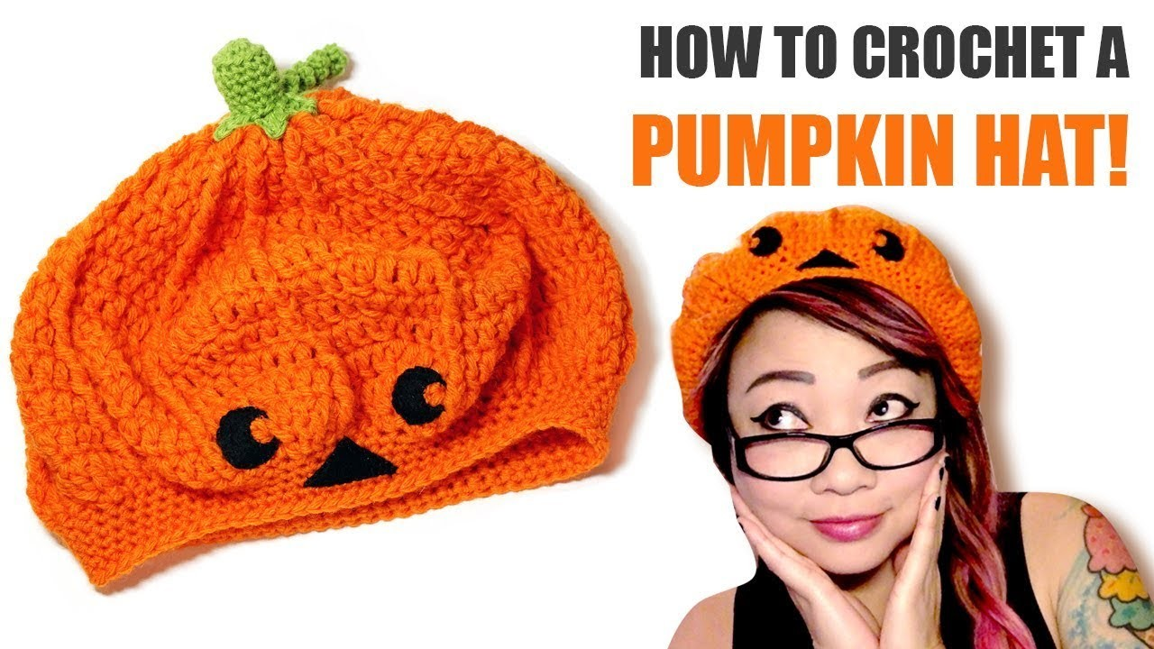 How to Crochet a Pumpkin or Jack-o-lantern Slouchy Beret Hat