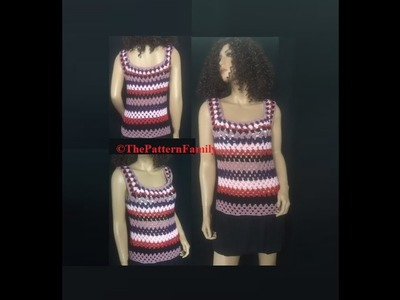 How to Crochet a Striped Granny Stitch Blouse. Shirt Pattern #127│by ThePatternfamily