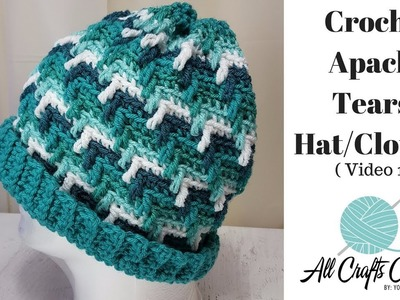 How to crochet Apache Tears Hat. Clouche  (Video 1)