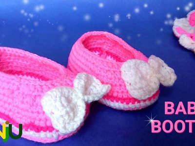 How to crochet easy baby booties | crosia baby shoes for 6-12 month baby