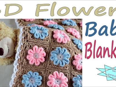 How to crochet Easy motif  Flower Baby Blanket