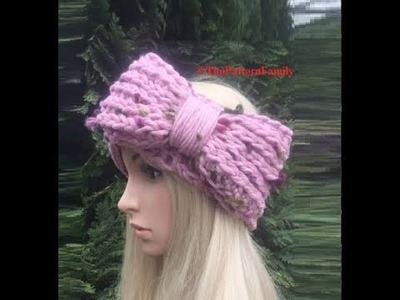 How to Crochet Ribbed Bow Ear Warmer. Headband Pattern #129│by ThePatternfamily