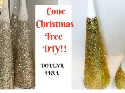 HOW TO MAKE A CONE CHRISTMAS TREE**DOLLAR TREE DIY!!