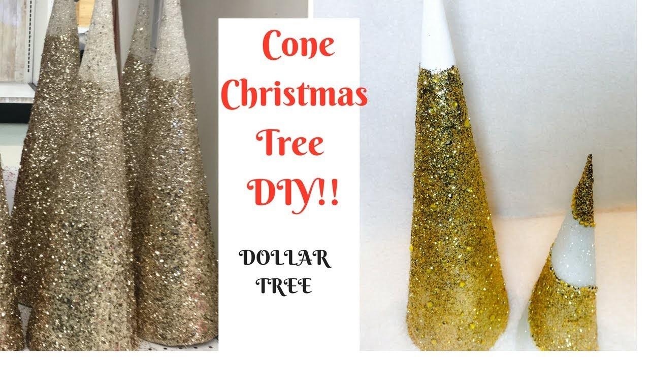 HOW TO MAKE A CONE CHRISTMAS TREE**DOLLAR TREE DIY!!