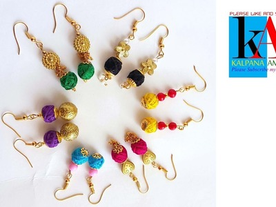 How to make cotton thread earrings in 6 different color models at home