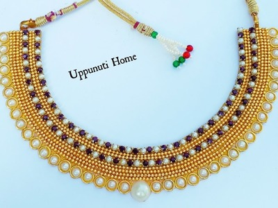 How To Make Designer Pearls Necklace At Home   DIY   Hand Made Bridal Necklace   Chokar   Making