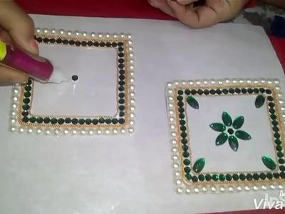 How to make kundan rangoli || tutorial || easy DIY
