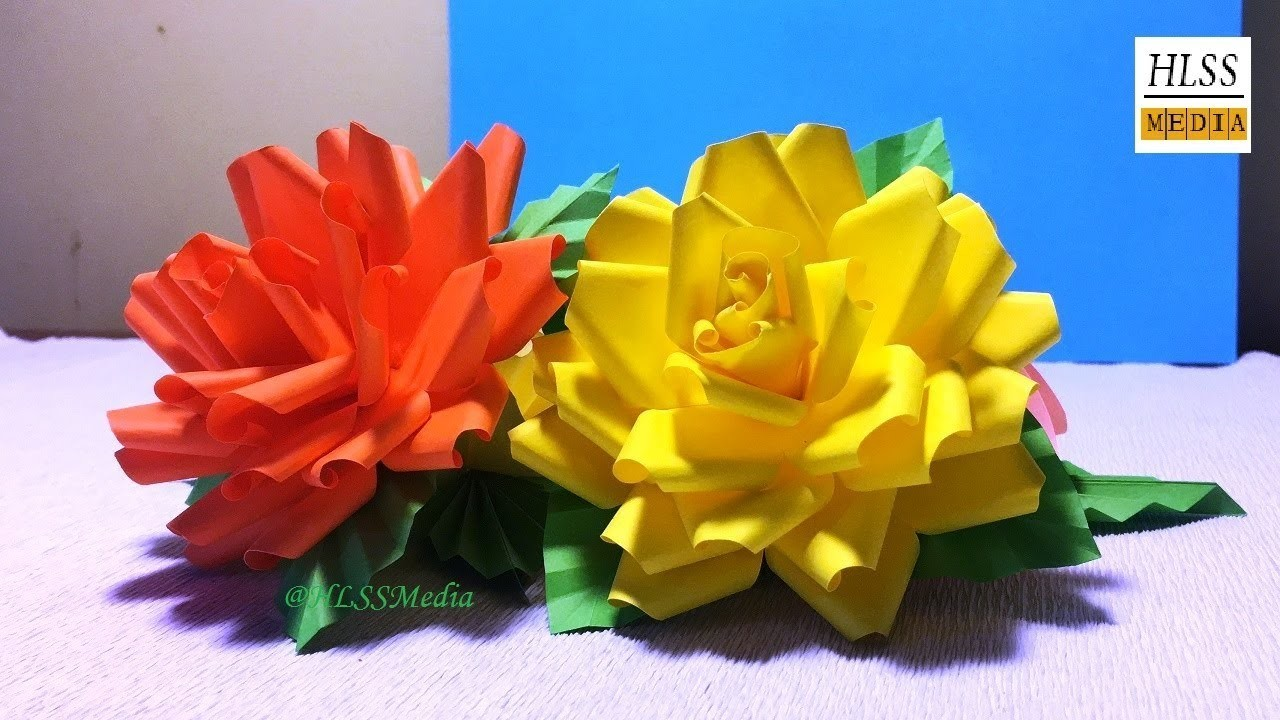 How To Make Rose Flower With Paper Diy Rose Tutorial Paper Crafts