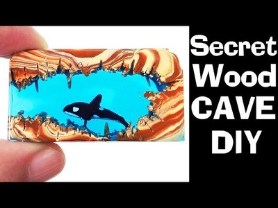HOW TO MAKE SECRET WOOD WHALE ORCA CAVE DIY (no power tools) polymer clay epoxy resin craft