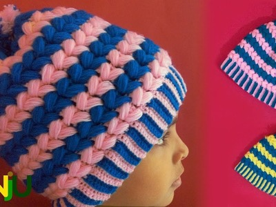 Make crochet two color cap step by step