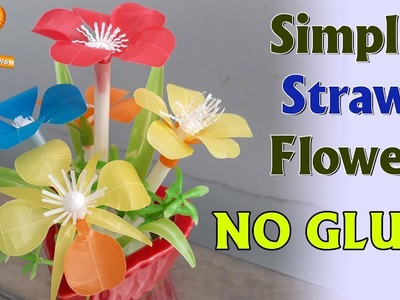 Making Flowers with Straw pretty easy and simple (no use glue) #DIY Art Straws