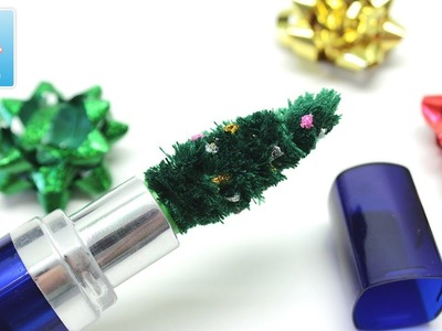 Mini Christmas Tree in Mom's Lipstick Tube - DIY Art and Craft Ideas
