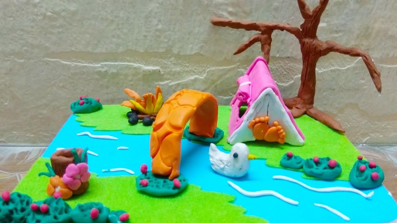 Miniature Scene Of Camp Using Clay Clay Craft Ideas