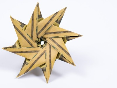 MONEY Origami STAR folding as Christmas gift, DIY instructions