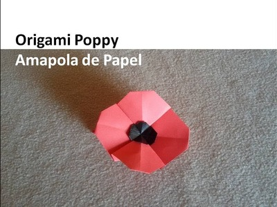 #Origami Poppy - Amapola de Papel DIY Tutorial Manualidades