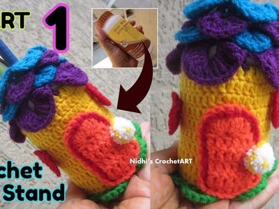 PART 1- Crochet Pen Stand Pencil Stand- NEW Crochet Home Decoration Pattern Idea