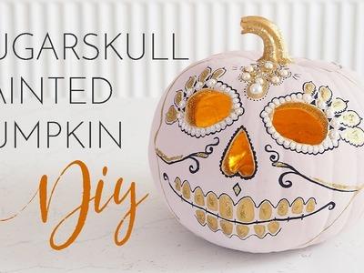 Pink & Gold Sugar Skull Painted Pumpkin DIY Tutorial