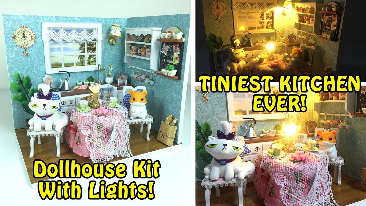 Tiniest Kitchen Ever! DIY Miniature Dollhouse Kitchen Kit with Lights!