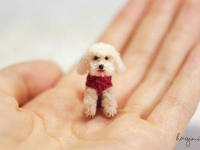 Tiny Cream Poodle - Made To Order- Hagimi - Micro Amigurumi Crochet