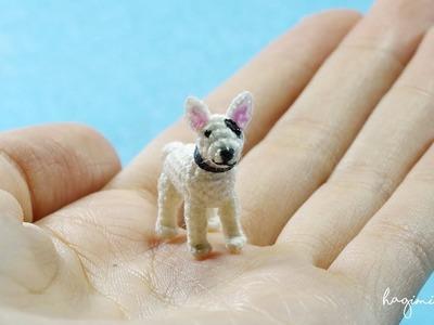 Tiny White Bull Terrier - Made to order - Micro Amigurumi Crochet