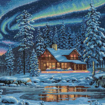Aurora Cabin Cross Stitch Pattern***LOOK***