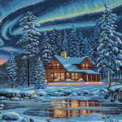 Aurora Cabin Cross Stitch Pattern***LOOK*** ***INSTANT DOWNLOAD***
