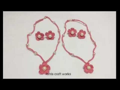 Crochet cotton thread necklace for kids - Crochet easy necklace and earrings making tutorial