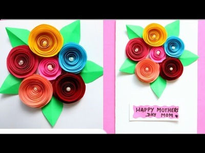 DIY Bouquet Card|Making Mothers day greeting card with paper flowers|Paper rose.Making paper rose