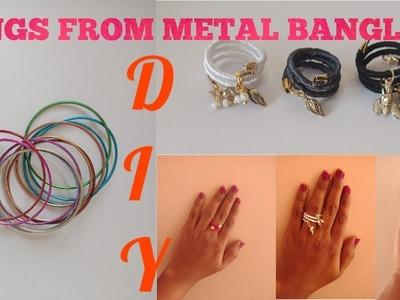 DIY easy adjustable silk thread charm rings using metal bangles | wrapped hanging charm rings