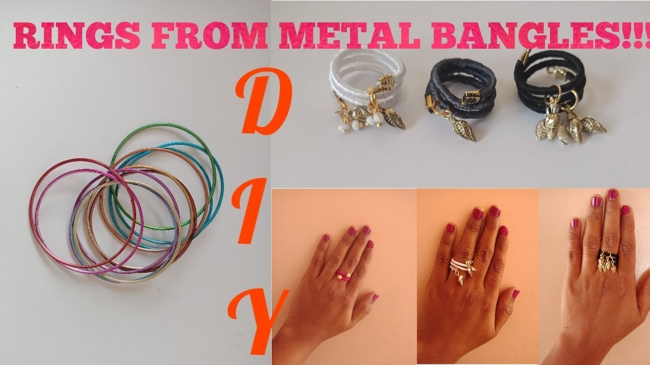 DIY easy adjustable silk thread charm rings using metal bangles | wrapped hanging charm rings