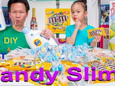 DIY GIANT CANDY SLIME FAIL- M&M Peanut, Tiger Pops, Jumbo Candy Balls | Khmer Candy Slime No Borax