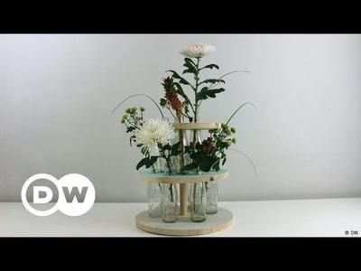 DIY - How to make a flower shelf and vase using coke bottles