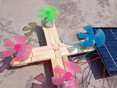 DIY: How to make solar drone using fans, motors, popsicles sticks, and solar panel