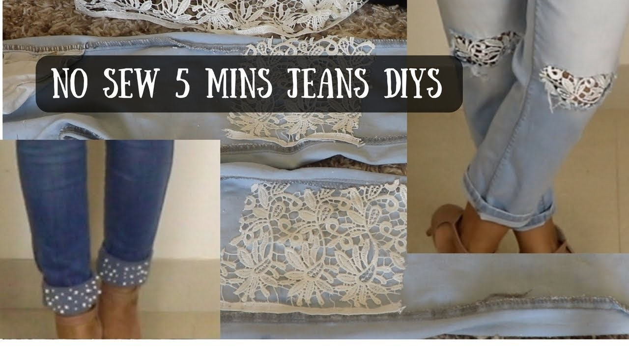 DIY | NO SEW 5 Mins Jeans DIY | Up-cycle Jeans