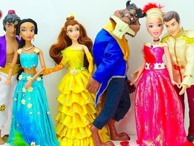 Find out who is the best Disney Couple? Cinderella Belle Jasmine Play-Doh kids video