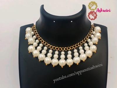 How To Make Beautiful Designer Pearl Necklace And Earrings At Home. Jewelry Making.uppunutiashwini