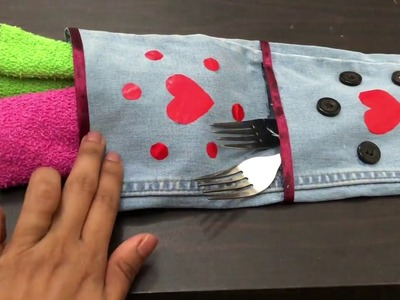 How To Make Simple Multipurpose Organizer From Old Denim Jeans. No Cost Kitchen Organization Idea
