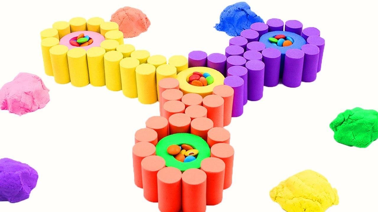 85a7e72ecaa Learn Colors Kinetic Sand Rainbow Waves W Shapes Fun Toys Nursery Rhymes  How To Make For Kids