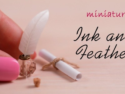 Miniature Ink Feather Pen & Scroll| No Polymer Clay