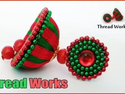 Silk thread earring making, jhumkas making, silk thread jewellery making tutorial at home,